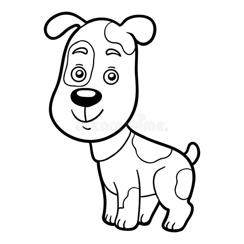 Färgläggningbok, färgläggningsida (hunden) royaltyfri illustrationer