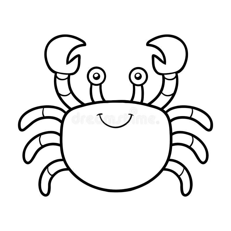 Färgläggningbok, färgläggningsida (krabban) royaltyfri illustrationer