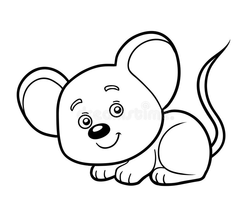 Färgläggningbok, färgläggningsida (musen) vektor illustrationer