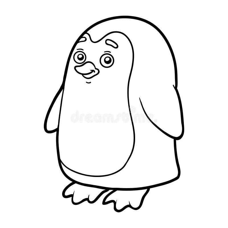 Färgläggningbok, färgläggningsida (pingvinet) royaltyfri illustrationer