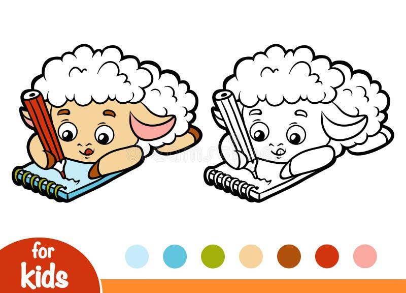 Färgläggningbok, fårförfattare med en blyertspenna och en anteckningsbok vektor illustrationer