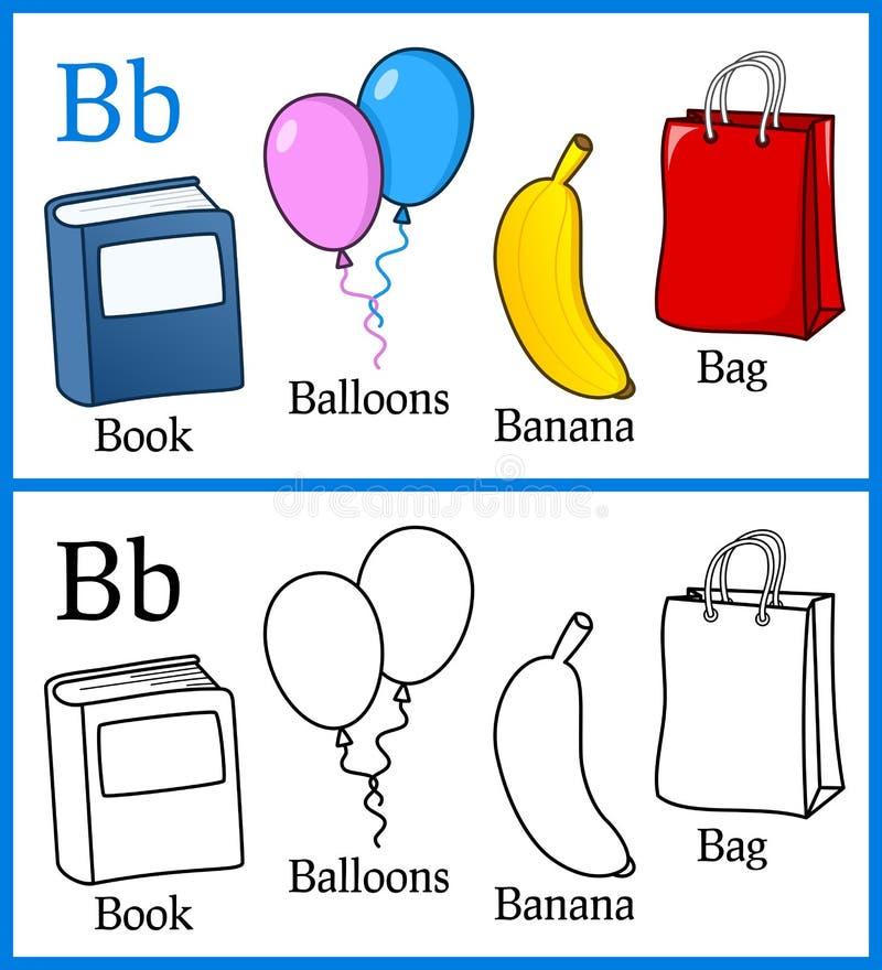 Färgläggningbok för barn - alfabet B royaltyfri illustrationer