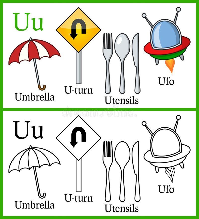 Färgläggningbok för barn - alfabet U vektor illustrationer