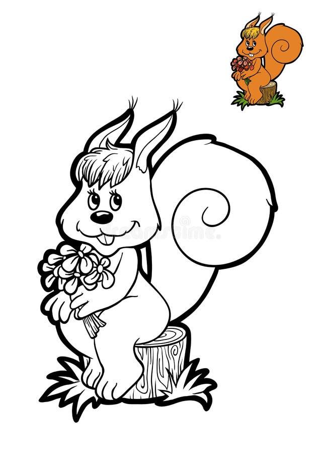 Färgläggningbok för barn, ekorre royaltyfri illustrationer