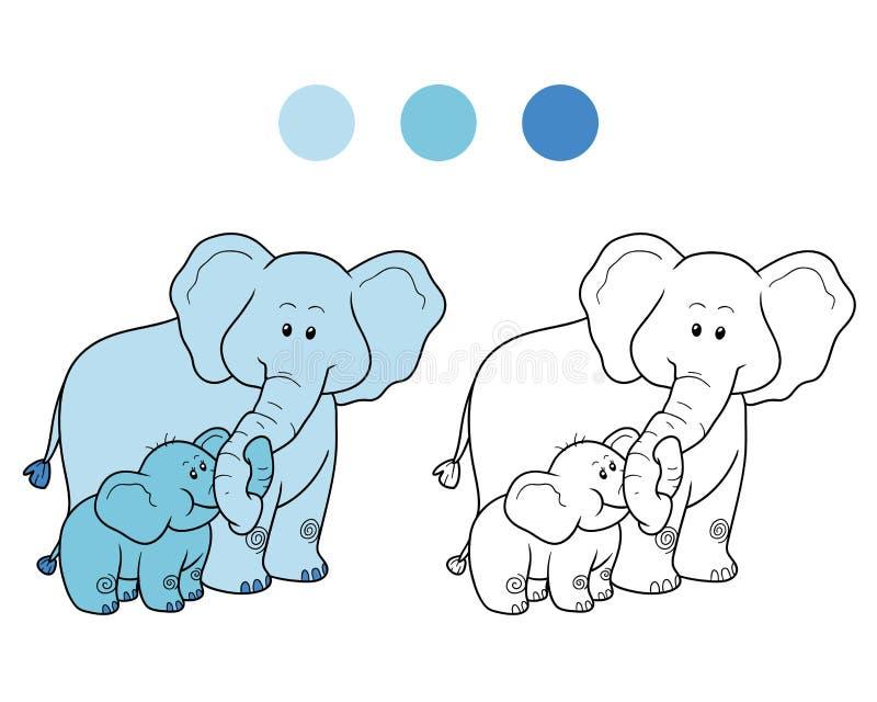 Färgläggningbok för barn: elefanter royaltyfri illustrationer
