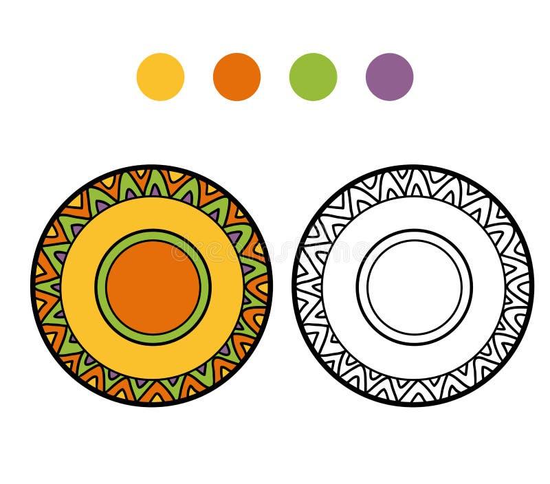 Färgläggningbok för barn En platta med den geometriska modellen vektor illustrationer