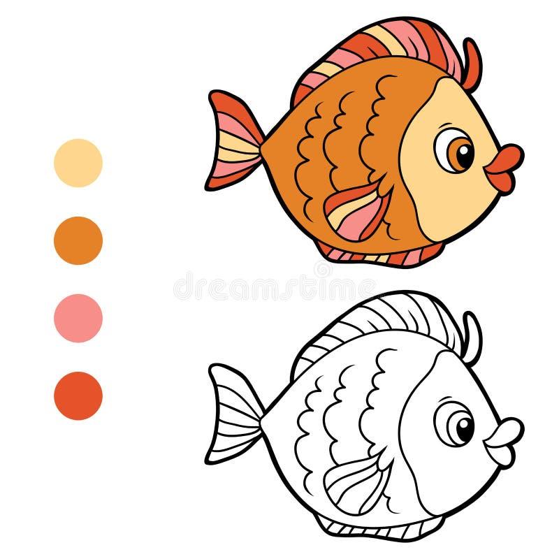 Färgläggningbok för barn (fisken) stock illustrationer