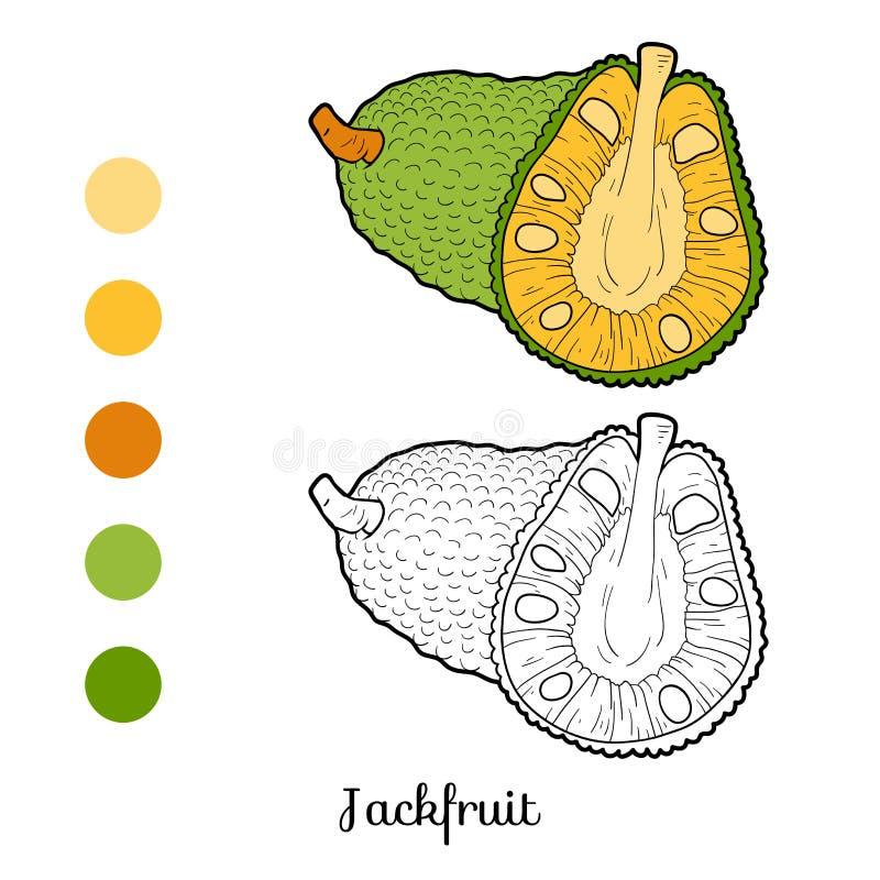 Färgläggningbok för barn: frukter och grönsaker (jackfruit) vektor illustrationer