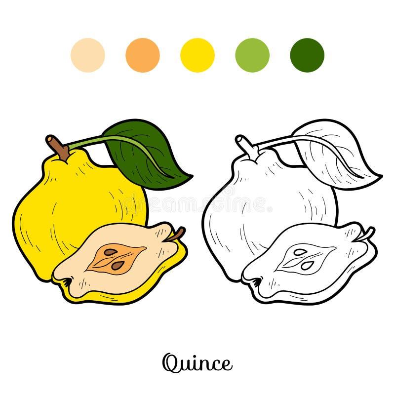 Färgläggningbok för barn: frukter och grönsaker (kvitten) vektor illustrationer