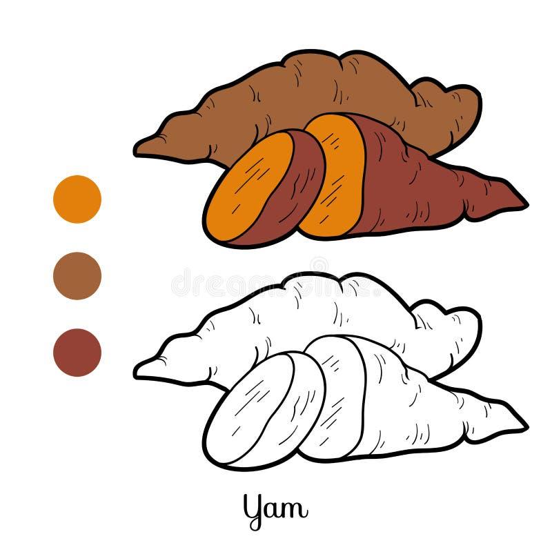 Färgläggningbok för barn: frukter och grönsaker (sötpotatis) stock illustrationer