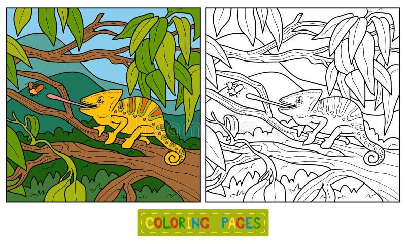 Färgläggningbok för barn (kameleonten) royaltyfri illustrationer