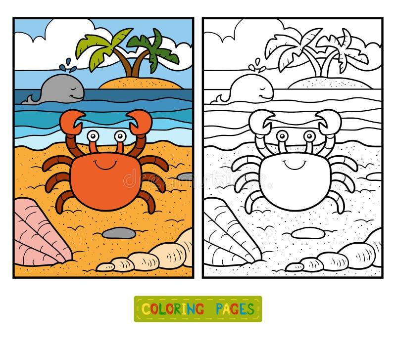 Färgläggningbok för barn (krabban och bakgrund) stock illustrationer