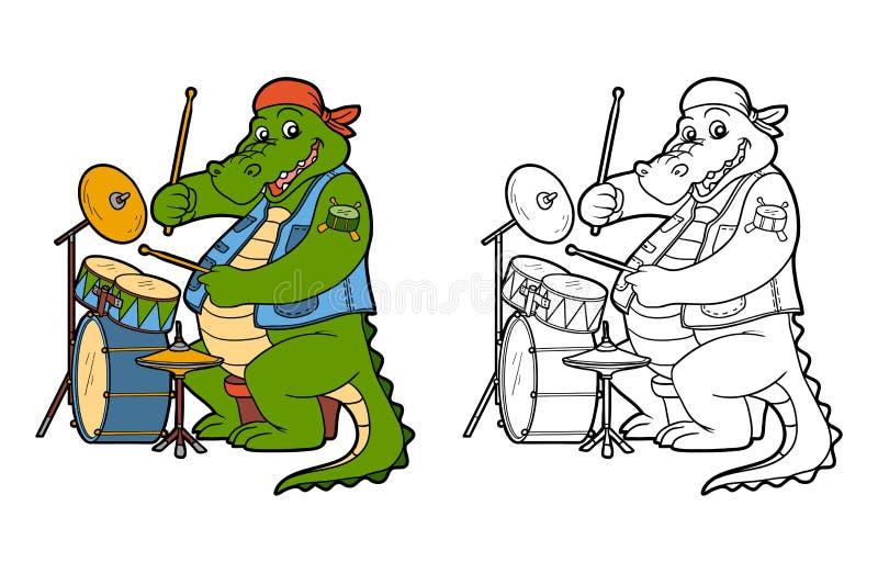 Färgläggningbok för barn: krokodil och vals royaltyfri illustrationer