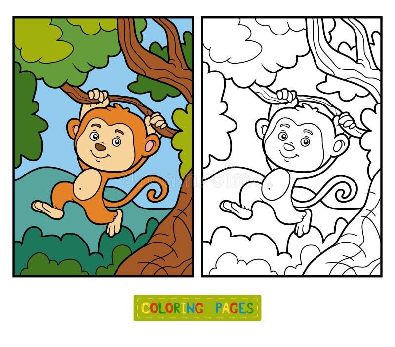 Färgläggningbok för barn, liten apa royaltyfri illustrationer