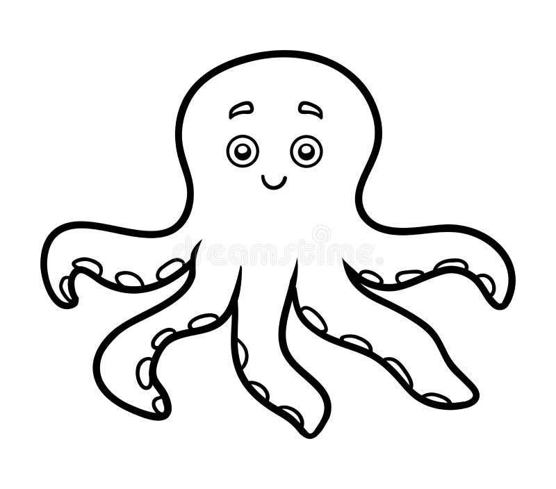 Färgläggningbok för barn, liten bläckfisk royaltyfri illustrationer