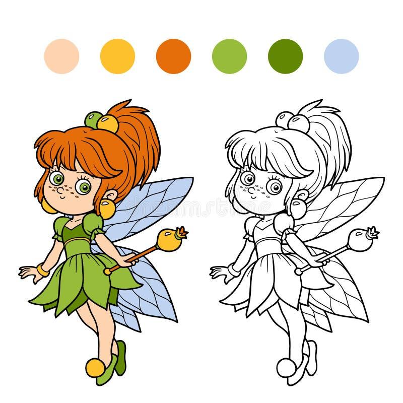 Färgläggningbok för barn: liten fe vektor illustrationer