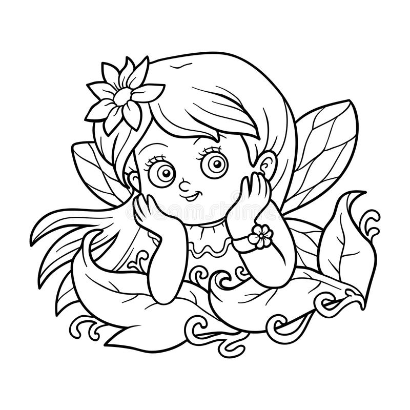 Färgläggningbok för barn: liten fe royaltyfri illustrationer