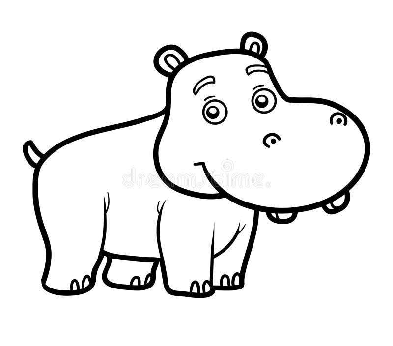 Färgläggningbok för barn, liten flodhäst stock illustrationer
