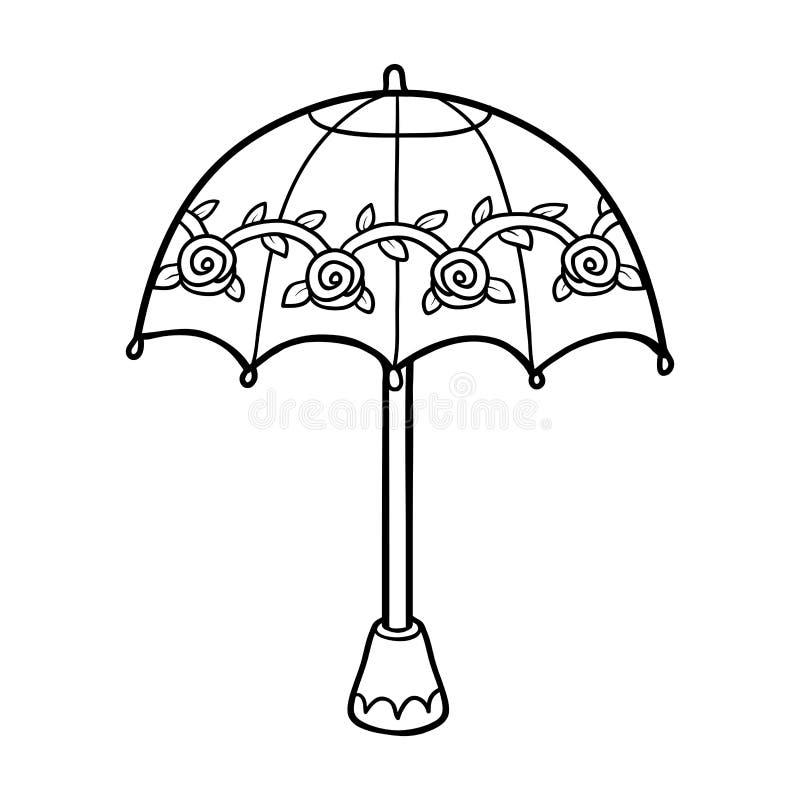Färgläggningbok för barn, paraply stock illustrationer