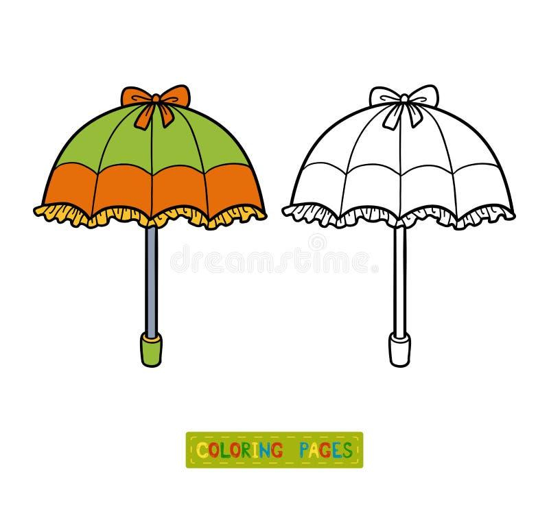 Färgläggningbok för barn, paraply vektor illustrationer