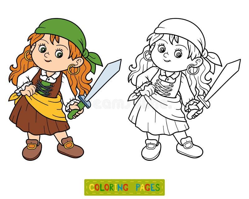 Färgläggningbok för barn (piratkopiera flickan), vektor illustrationer
