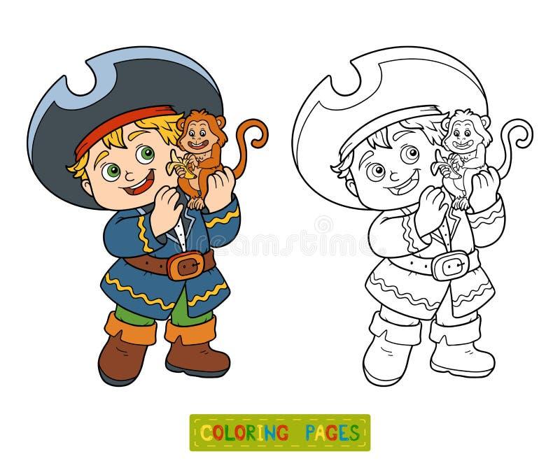 Färgläggningbok för barn (piratkopiera pojken och apan), royaltyfri illustrationer