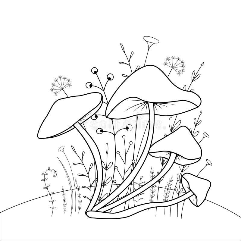 Färgläggningbok för barn s med tecknad filmdjur Bildande uppgifter för gulliga champinjoner för förskole- barn stock illustrationer
