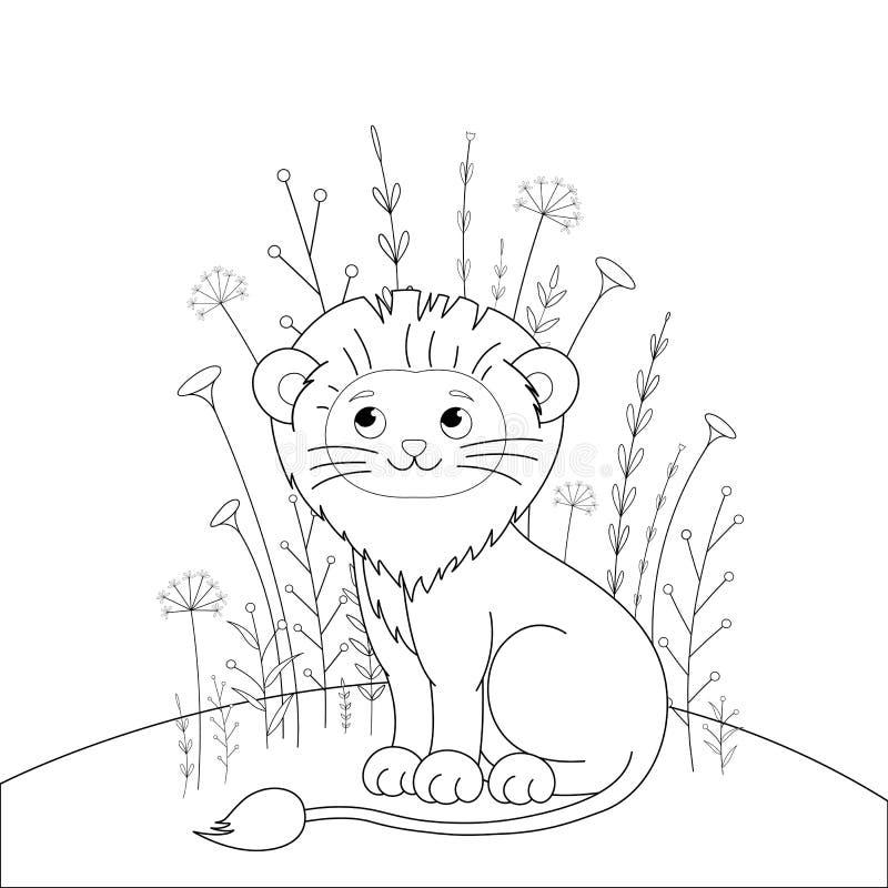 Färgläggningbok för barn s med tecknad filmdjur Bildande uppgifter för gulligt lejon för förskole- barn royaltyfri illustrationer