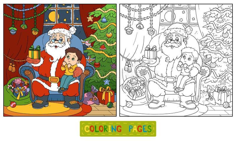 Färgläggningbok för barn: Santa Claus ger en gåva royaltyfri illustrationer