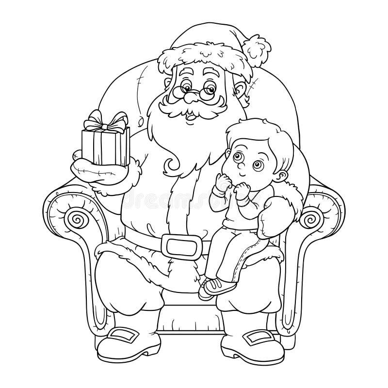 Färgläggningbok för barn: Santa Claus ger en gåva lite bo vektor illustrationer
