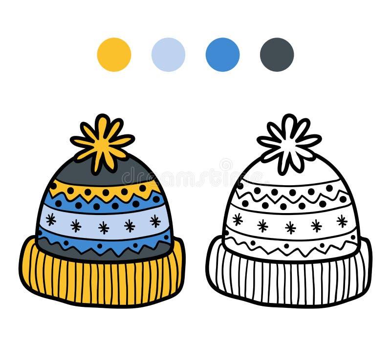 Färgläggningbok för barn, stucken vinterhatt royaltyfri illustrationer