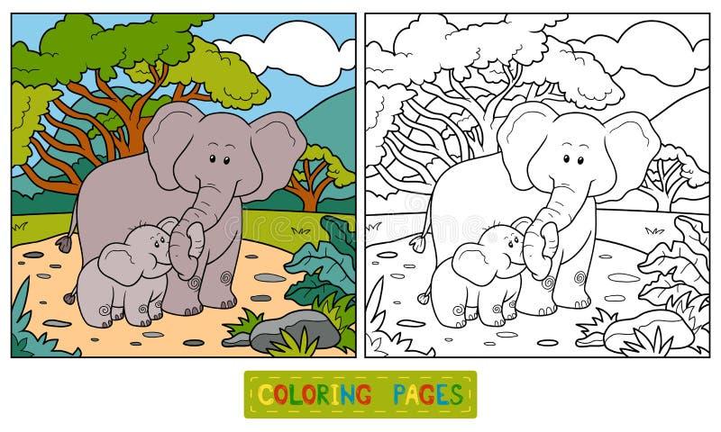 Färgläggningbok för barn (två elefanter) stock illustrationer