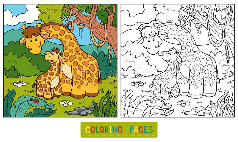 Färgläggningbok för barn (två giraff) royaltyfri illustrationer