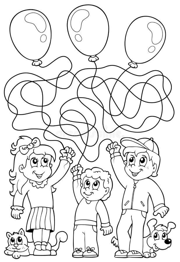 Färgläggningbok för labyrint 8 med barn royaltyfri illustrationer