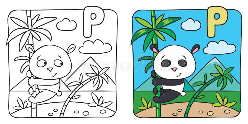 Färgläggningbok för liten panda Alfabet P stock illustrationer