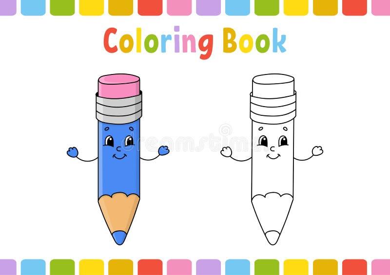 Färgläggningbok för ungar gladlynt tecken Enkel plan isolerad vektorillustration i gullig tecknad filmstil vektor illustrationer