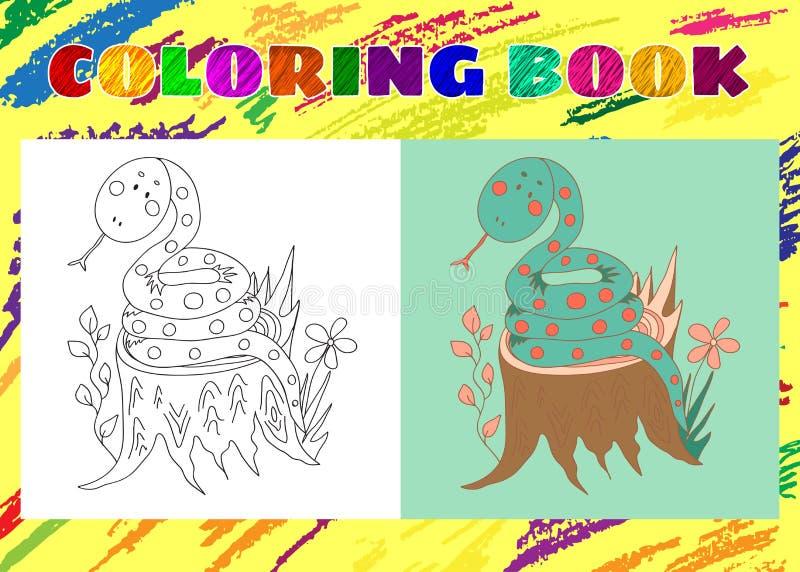 Färgläggningbok för ungar Knapphändig liten blåttorm vektor illustrationer