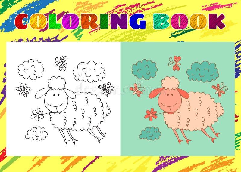 Färgläggningbok för ungar Knapphändigt litet rosa gulligt lamm vektor illustrationer