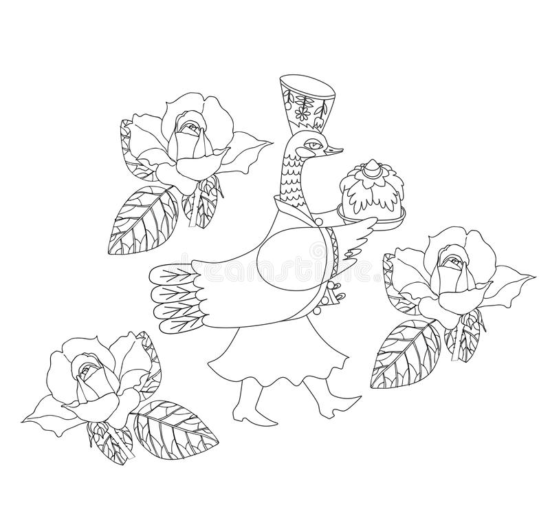 Färgläggningbok för ungar med den sagolika anden och rosor royaltyfri illustrationer