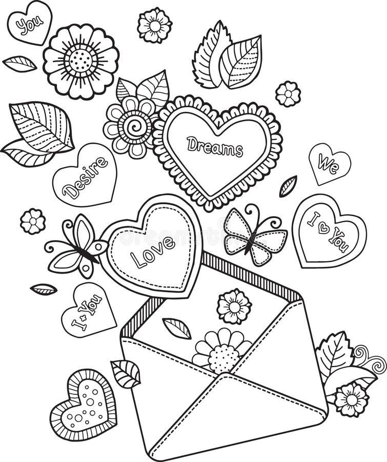 Färgläggningbok för vuxen människa jag älskar dig red steg stock illustrationer