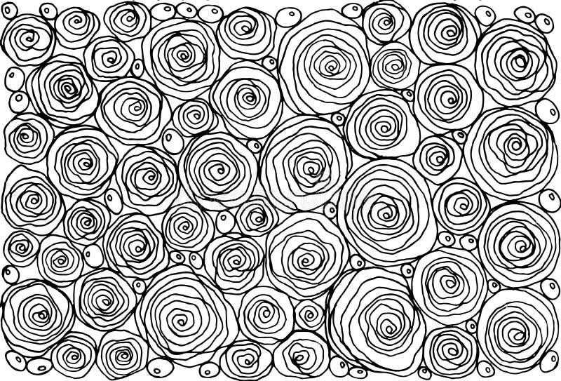Färgläggningbok för vuxna människor med enkla rosor för klottertecknad film floror vektor illustrationer