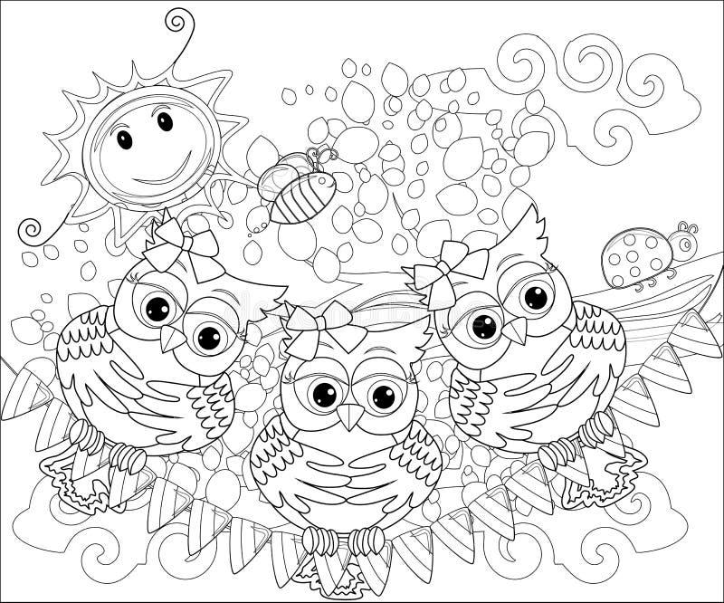 Färgläggningbok för vuxna och äldre barn Färga sidan med den gulliga ugglan och den blom- ramen Översiktsteckning i zentangle royaltyfri illustrationer