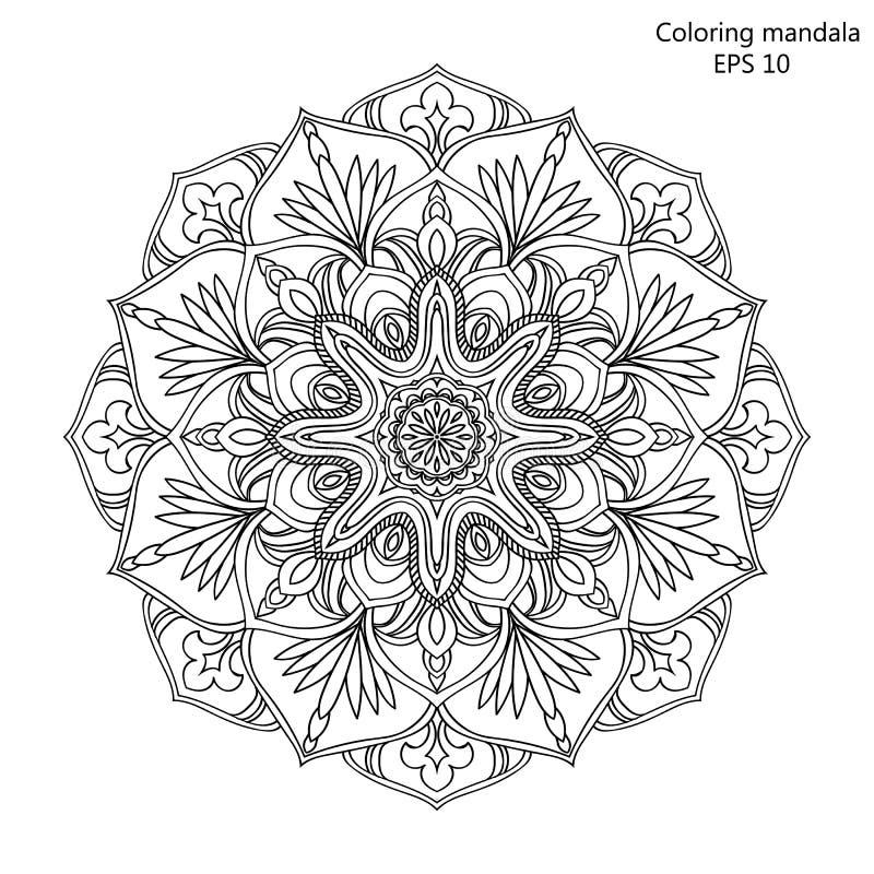 Färgläggningbok för vuxna och äldre barn sida med mandalaen som göras av den drog dekorativa handen för tappningblommaöversikt stock illustrationer