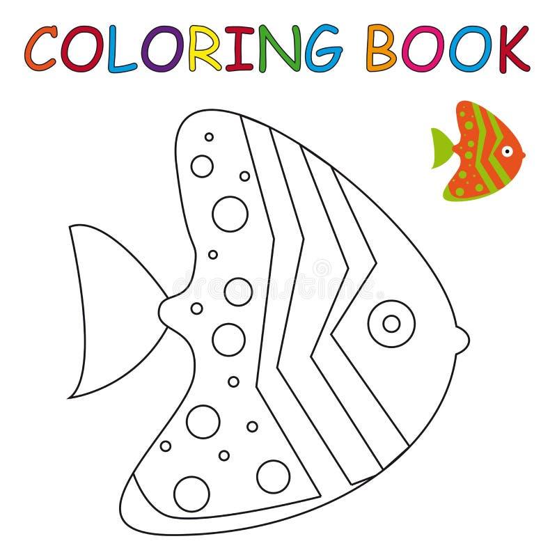 Färgläggningbok - fisk stock illustrationer