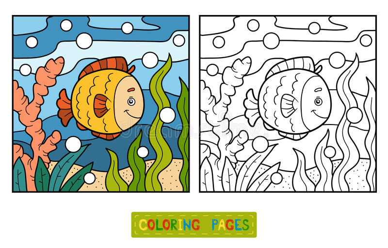 Färgläggningbok (fisken och bakgrund) vektor illustrationer