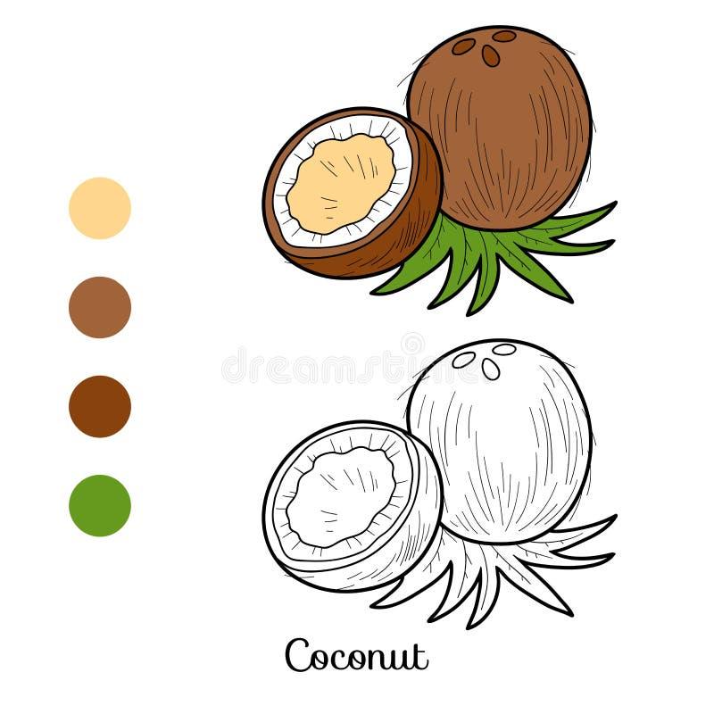 Färgläggningbok: frukter och grönsaker (kokosnöt) stock illustrationer