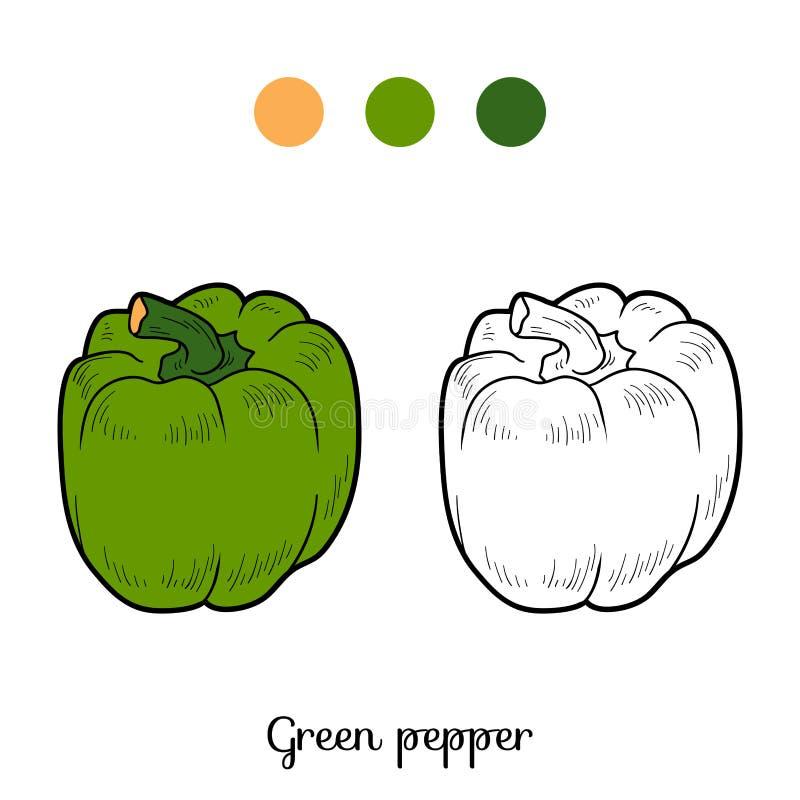 Färgläggningbok: frukter och grönsaker (peppar) royaltyfri illustrationer