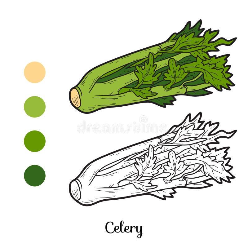 Färgläggningbok: frukter och grönsaker (selleri) stock illustrationer
