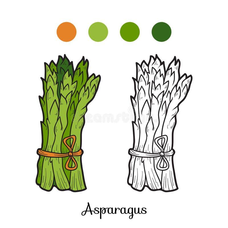 Färgläggningbok: frukter och grönsaker (sparris) stock illustrationer