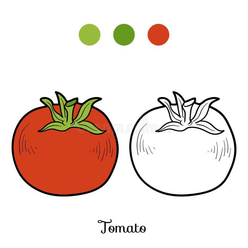 Färgläggningbok: frukter och grönsaker (tomat) stock illustrationer